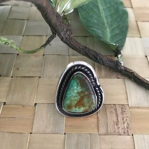 Auth NATIVE AMERICAN Old Pawn Turquoise Ring